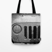 jeep Tote Bags featuring Jeep Smiles by Bwoodstockfoto