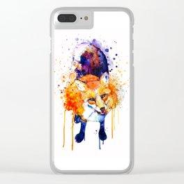 Cute Happy Fox Clear iPhone Case