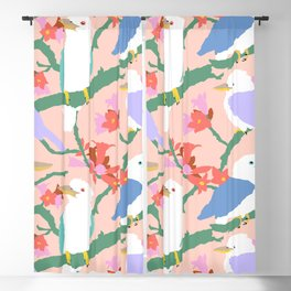 Kookaburra Birds + Little Kurrajong Flowers Blackout Curtain