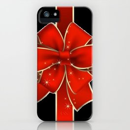 Red Bow on black iPhone Case
