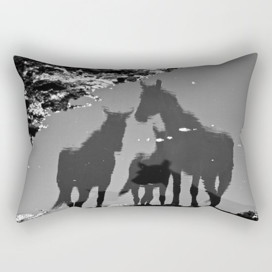 the reflection of horses Rectangular Pillow