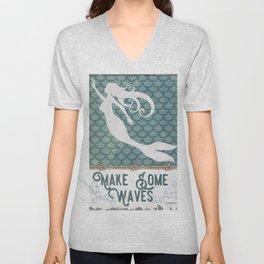 Mermaid Waves 1 Unisex V-Neck