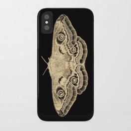 Gold moth on black iPhone Case