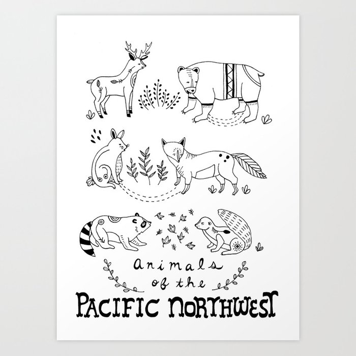 Animals of the Pacific Northwest Art Print