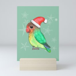 Cute Christmas lovebird Mini Art Print