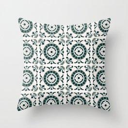 Green tiles Throw Pillow