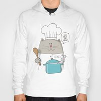 chef Hoodies featuring Chef cat, chef hat, ZWD009S6 by ZeeWillDraw