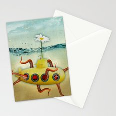 yellow submarine in an octapuses garden Stationery Cards