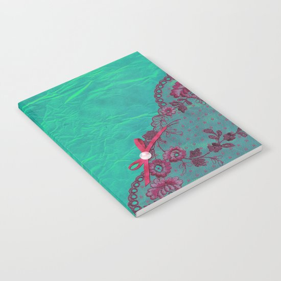 Claire´s treasure I - Pink lace,ribbon and pearl on aqua backround Notebook