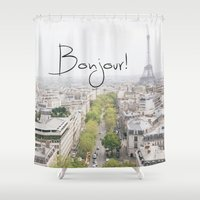 bonjour Shower Curtains featuring Bonjour!  by Diana Nguyen