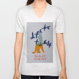 I'm Called to the Wild - Wolf Screen print - Wild Veda Unisex V-Neck
