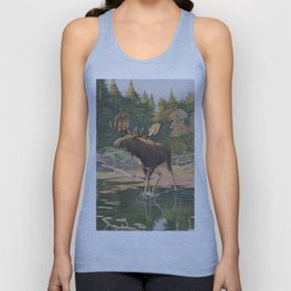 Vintage Moose Illustration (1902) Unisex Tank Top