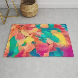 Colorful Crab Apple Blossoms Abstract Rug