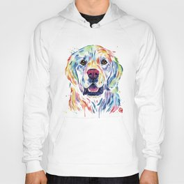 Golden Retriever Watercolor Pet portrait Painting Hoody
