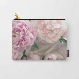 Shabby Chic Pastel Pink Peonies Wall Art - Peonies Home Decor Carry-All Pouch
