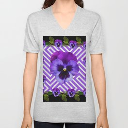 BLACK &  PURPLE PANSY ART ABSTRACT  PATTERN Unisex V-Neck
