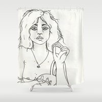 boob Shower Curtains featuring Tired Eyes by Charlotte Anderson