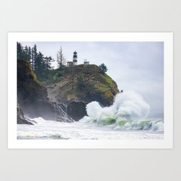 Waves at Cape Disappointment Art Print