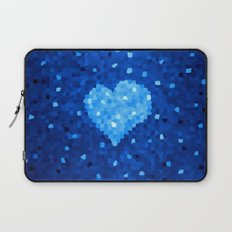 Winter Blue Crystallized Abstract Heart Laptop Sleeve