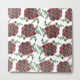 Watercolor houseleek - pink and green Metal Print
