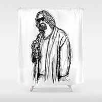 the dude Shower Curtains featuring The Dude by Tom Ledin