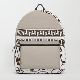 Modern Vintage Striped Floral Pattern, Beige, Brown Backpack