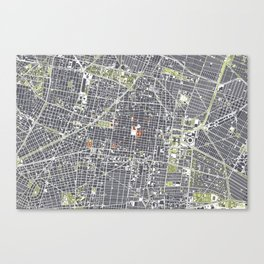 Mexico city map engraving Canvas Print