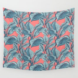 Pink Exotic Tropical Banana Palm Leaf Print Wall Tapestry