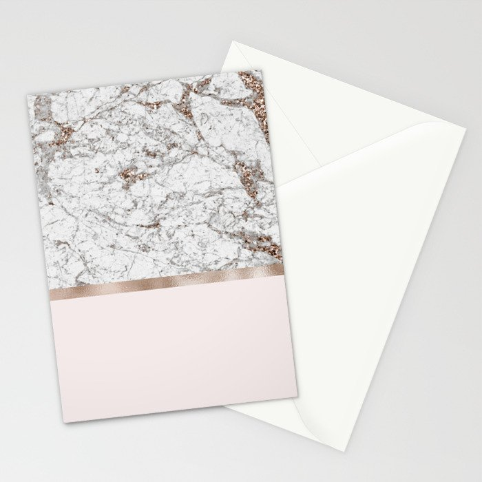 Gleaming rose gold blush Stationery Cards