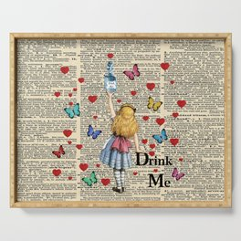 Drink Me - Vintage Dictionary Page - Alice In Wonderland Serving Tray