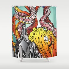 Kraken the Mountain Shower Curtain