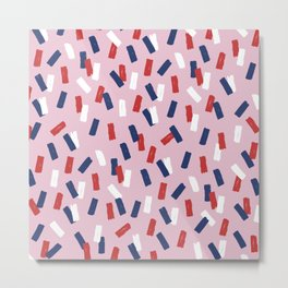 American confetti party minimal paper strokes 4th of July celebration pattern pink Metal Print