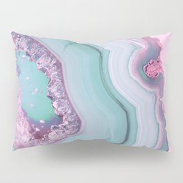 Sea Blue and Pink Agate Pillow Sham