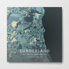 Sunderland, United Kingdom - Cream Blue Metal Print
