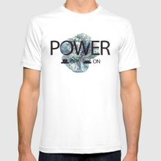 Power on / off SMALL White Mens Fitted Tee