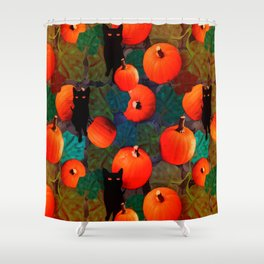 Pumpkins and Black Cats Shower Curtain