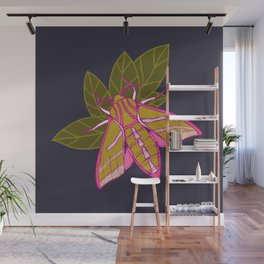 Nature moth - elephant hawk moth with leaves Wall Mural