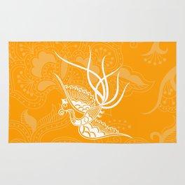 Orange Bird and Floral Henna. Rug