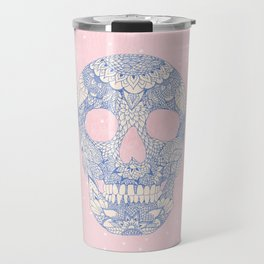 Modern blue ornate skull floral lace mandala illustration pink watercolor Travel Mug