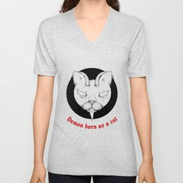 Scary Cats and Kitten Demon Lover Butt in Art Vintage Cats Face Unisex V-Neck
