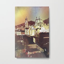Watercolor painting of Cathedral in the colonial mining town of Zacatecas, Mexico at sunset. Metal Print