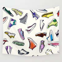 sneakers Wall Tapestries featuring sneakers addiction by Federico Faggion