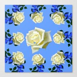 WHITE ROSES BLUE GARDEN DESIGN Canvas Print