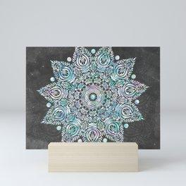 Mermaid Mandala on Deep Gray Mini Art Print