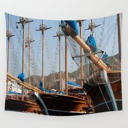 Gulets Lining The Harbour Infront of Marmaris Castle Wall Tapestry