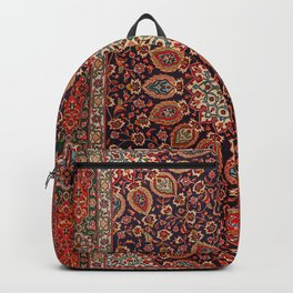 Persian Tabriz Old Century Authentic Multi-Color Black Radial Geometric Vintage Rug Pattern Backpack