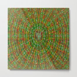 Abstract Green Red Yellow and White Metal Print