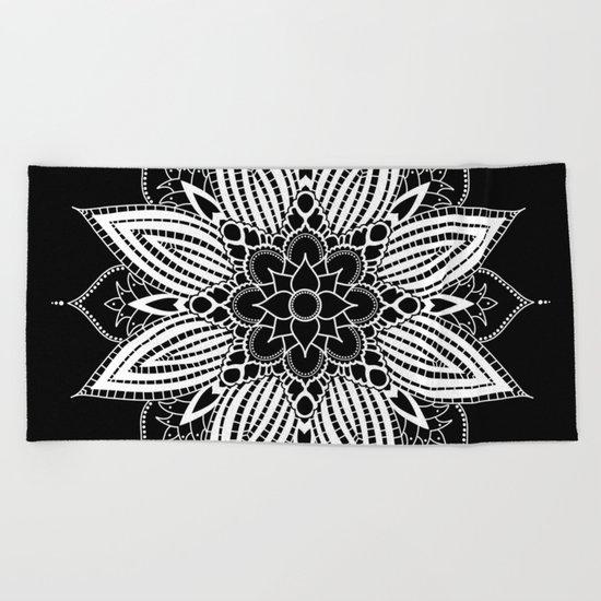 Black and White Flower Mandala Beach Towel