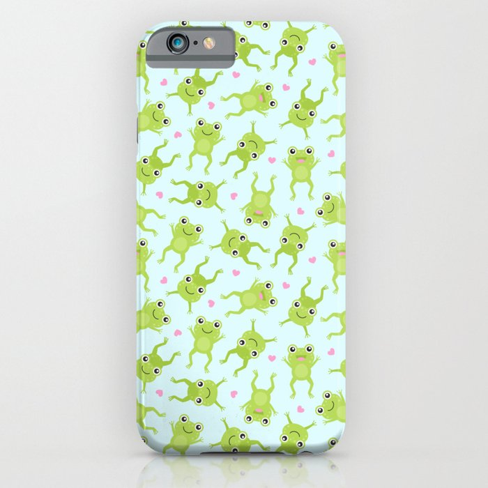 Kawaii Happy Frogs on Blue iPhone Case