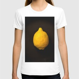 Yellow Lemon On A Black Background #decor #society6 T-shirt